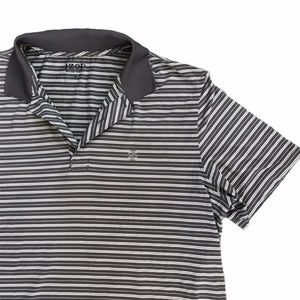 Izod Grey and White Striped Polo
